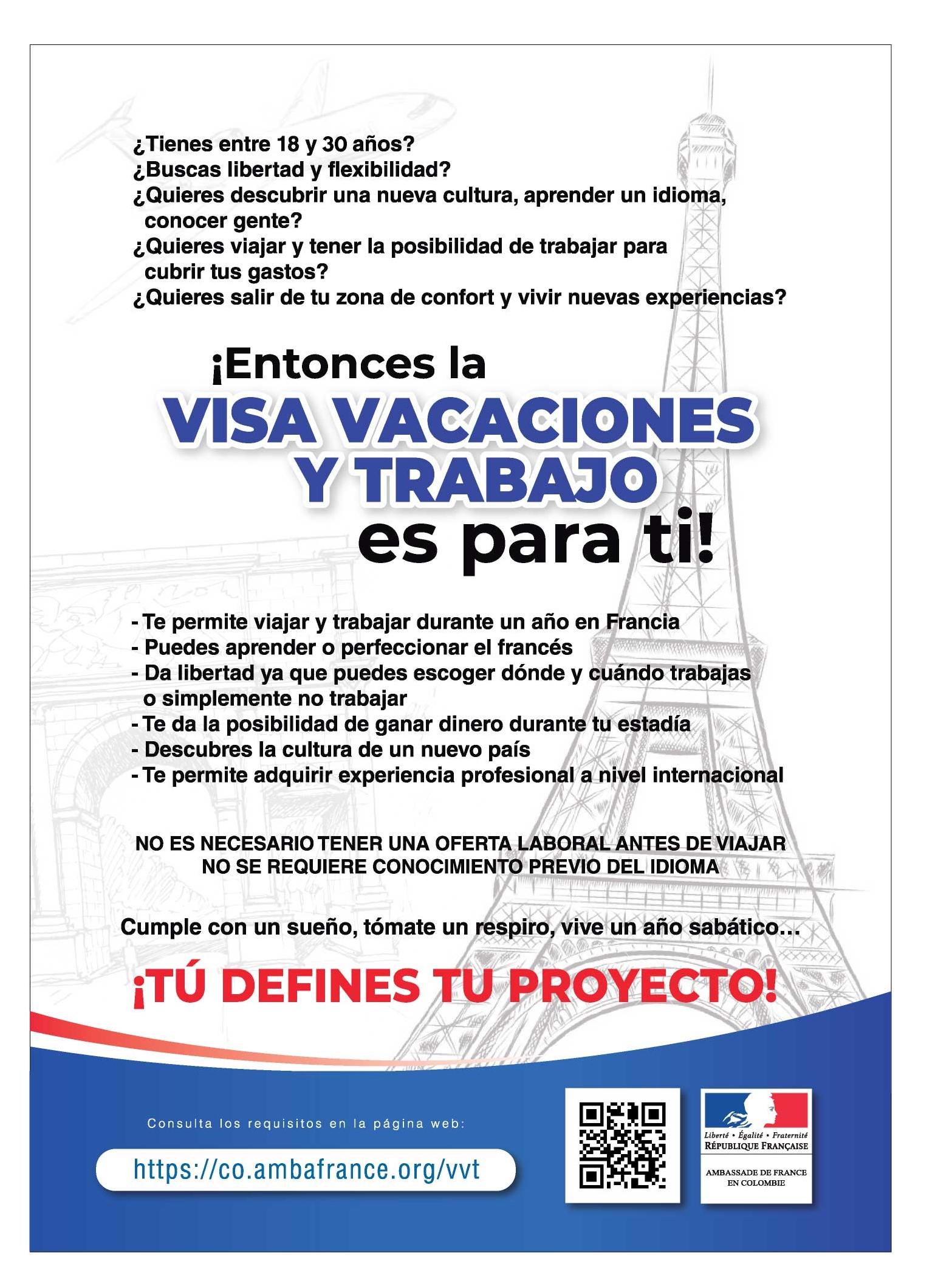 Visa Vacaciones Y Trabajo La France En Colombie Francia En Colombia